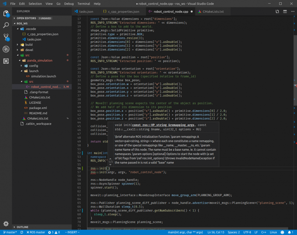 ROS development with Visual Studio Code – Erdal's blog